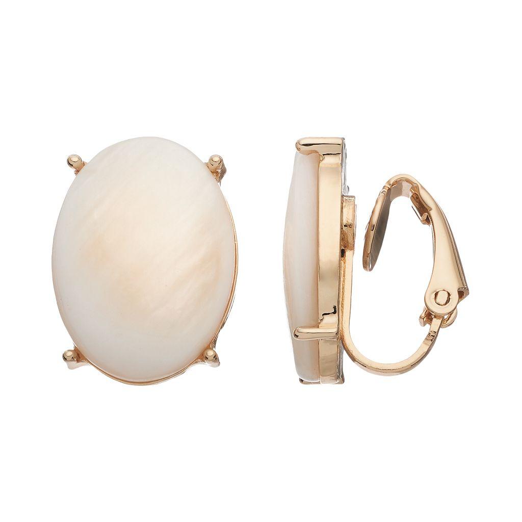 White Oval Clip On Earrings