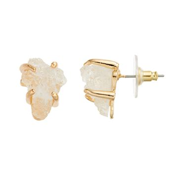 White Simulated Drusy Drop Earrings