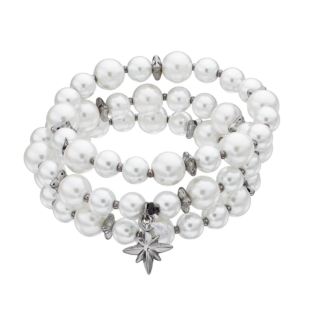 Simply Vera Vera Wang Simulated Pearl Starburst Stretch Bracelet Set