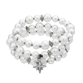 Simply Vera Vera Wang Simulated Pearl Starburst Stretch Bracelet Set