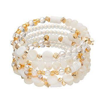 White Bead & Composite Shell Disc Coil Bracelet