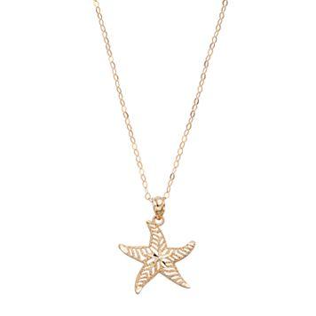 10k Gold Starfish Pendant Necklace