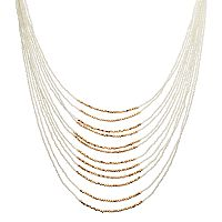 White Seed Bead Multi Strand Necklace
