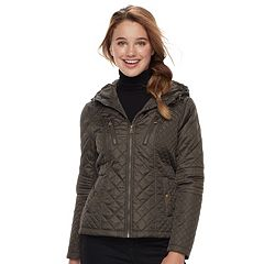 Juniors' Sebby Plaid-Lined Quilted Jacket