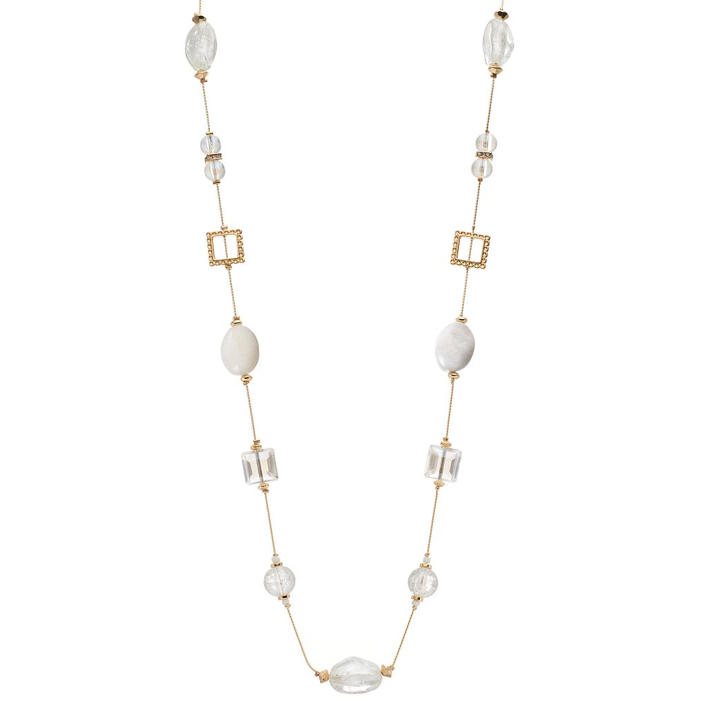 White Beaded Long Station Necklace