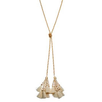 Knotted White Tassel Y Necklace