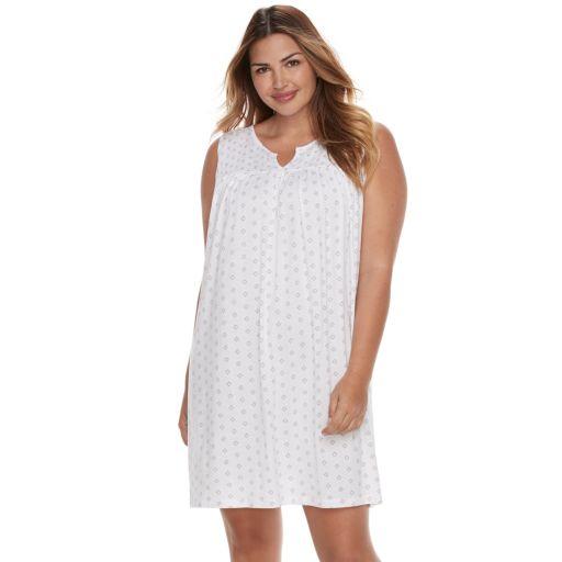 Plus Size Croft & Barrow® Pajamas: Sleeveless Smocked Nightgown