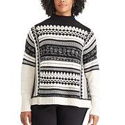Plus Size Chaps  Jacquard Mockneck Sweater