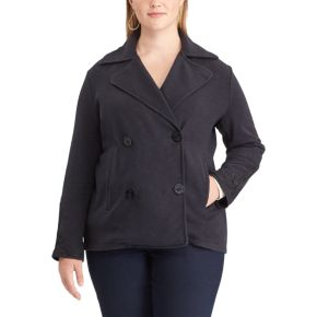 Plus Size Chaps French Terry Double Breasted Jacket