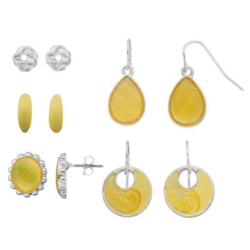 Yellow Oval Cabochon, Cutout Disc & Teardrop Earring Set