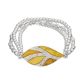 Yellow Composite Shell Leaf Beaded Stretch Bracelet