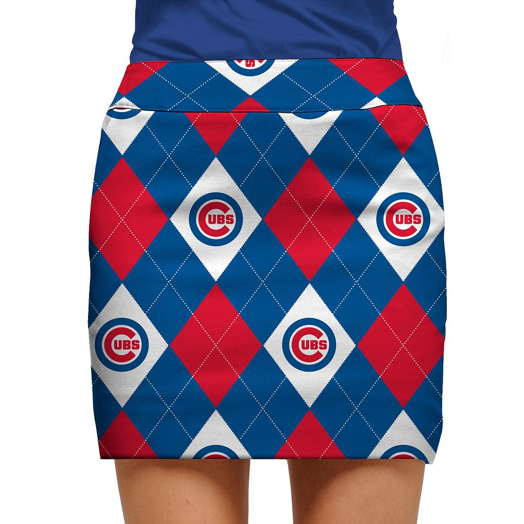 Women's Loudmouth Chicago Cubs Golf Argyle Skort