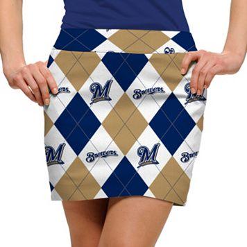 Women's Loudmouth Milwaukee Brewers Golf Argyle Skort