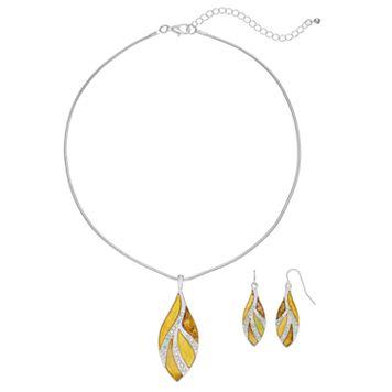 Glittery Yellow Leaf Pendant Necklace & Drop Earring Set