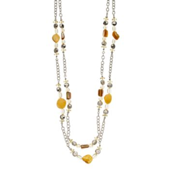 Yellow Bead Long Double Strand Necklace