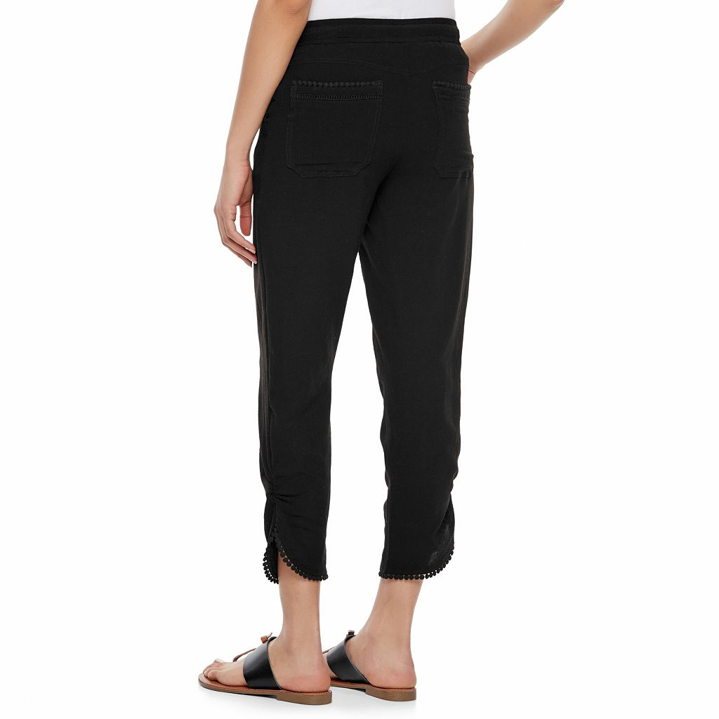 Juniors' Rewind Ruched Pom-Pom Trim Pants