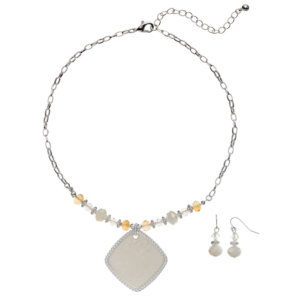 Glittery Square Pendant Necklace & Beaded Drop Earring Set