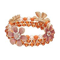 Peach Flower Beaded Stretch Bracelet Set