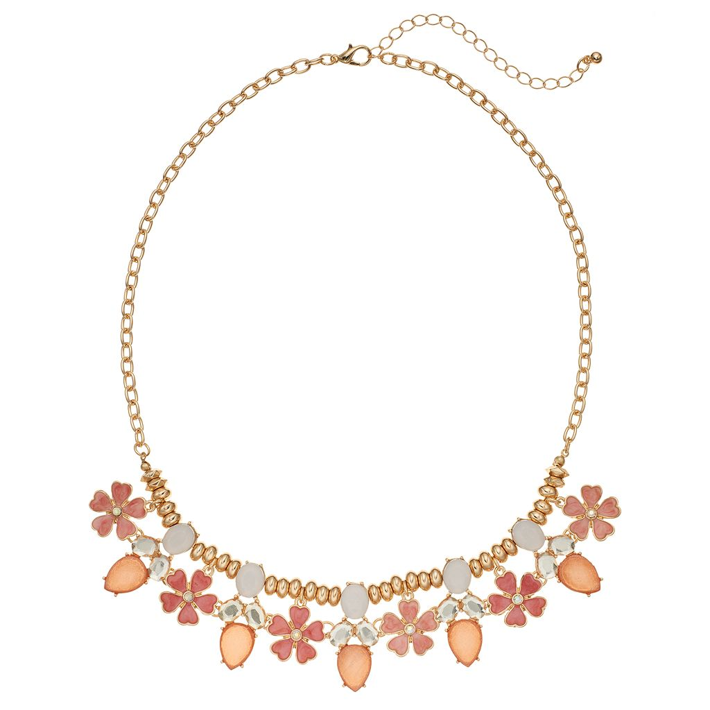 Peach Flower Stone Cluster Statement Necklace