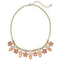 Peach Flower Stone Cluster Statement Necklace