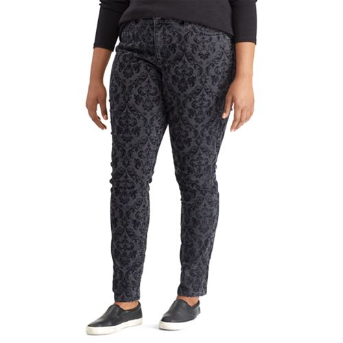 Plus Size Chaps Patterned Stretch Skinny Jeans