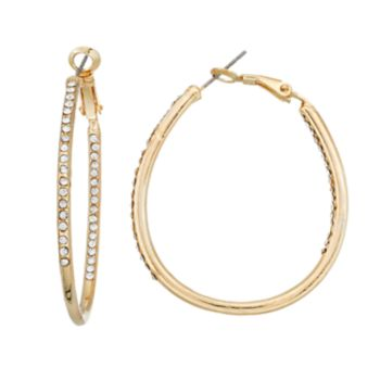 Simulated Crystal Pave Nickel Free Inside Out Hoop Earrings