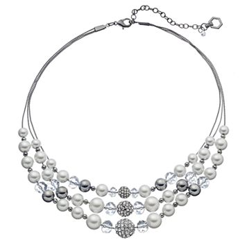 Simply Vera Vera Wang Simulated Pearl & Fireball Multi Strand Necklace