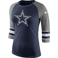 Women's Nike Dallas Cowboys Striped Raglan Tee