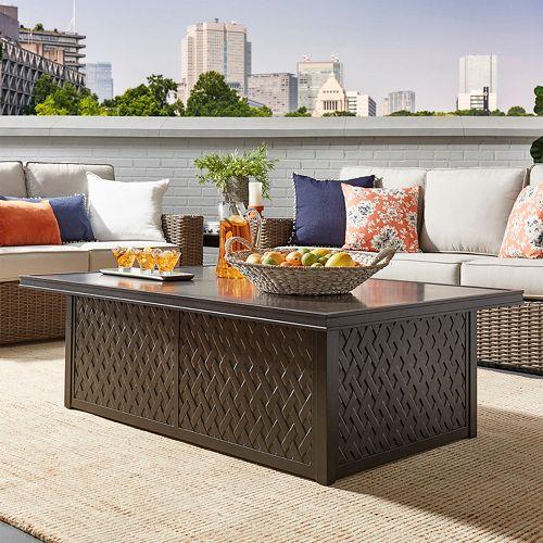 HomeVance Borego Patio Concrete Top Coffee Table