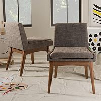 Baxton Studio Mid-Century Modern Armless Dining Chair 2 pc Set