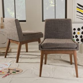 Baxton Studio Mid-Century Modern Armless Dining Chair 2-piece Set