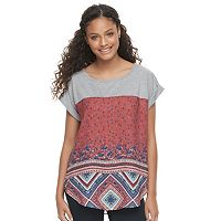 Juniors' Rewind Print Mixed Media Top