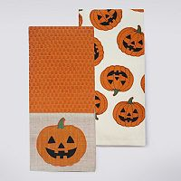 Celebrate Halloween Together Pumpkin Band Kitchen Towel 2-pk.