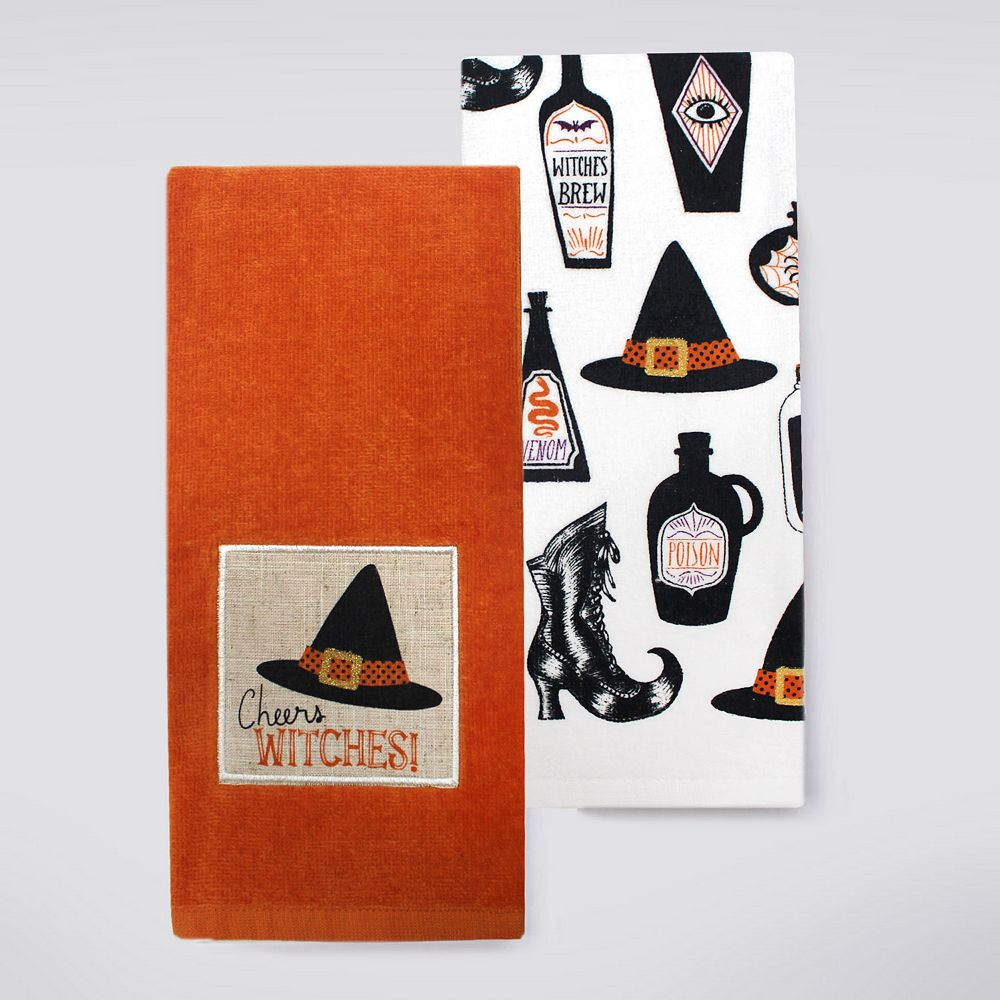 Halloween Together Cheers Witches Kitchen Towel 2-pk.