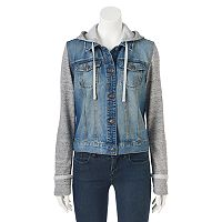 Juniors' Mudd® Knit Sleeve Jean Jacket