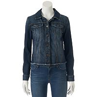 Juniors' Mudd® Frayed Hem Jean Jacket
