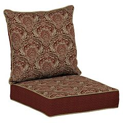 Bombay® Outdoors Venice Damask Snap Dry Reversible Deep Seat Chair Cushion Set