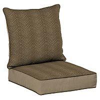 Bombay® Outdoors Zebra Pattern Snap Dry Reversible Deep Seat Chair Cushion Set