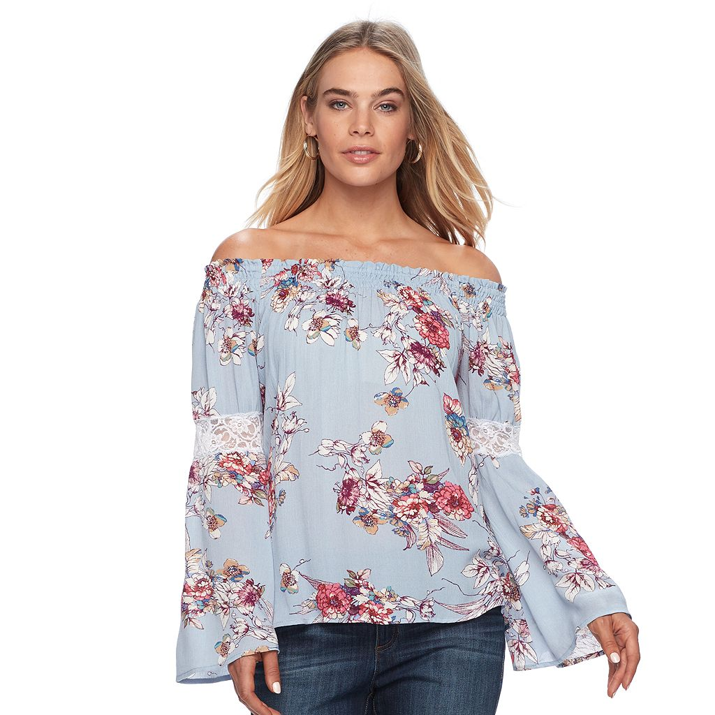 Women's Double Click Off-the-Shoulder Lace Top