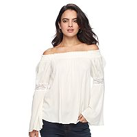 Women's Double Click Solid Off-the-Shoulder Lace Top