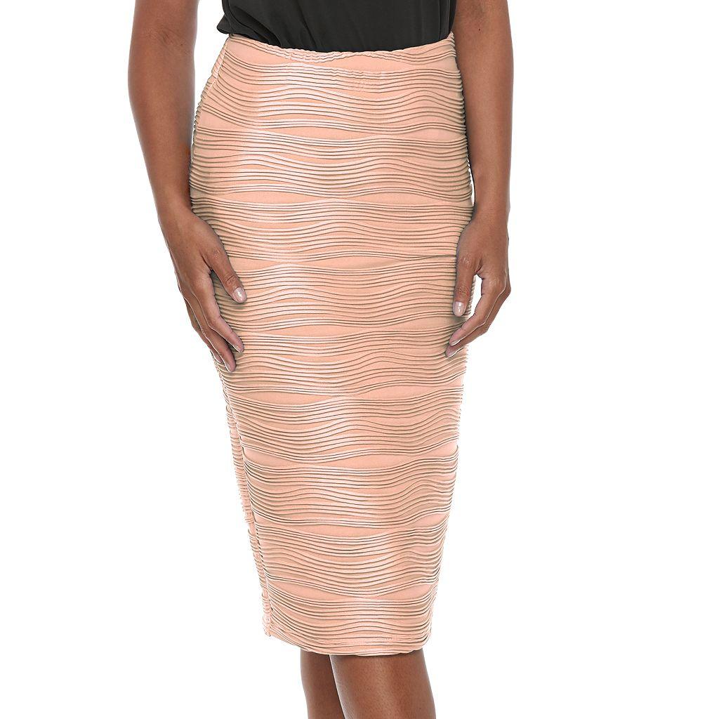 Women's Double Click Wavy Pencil Skirt