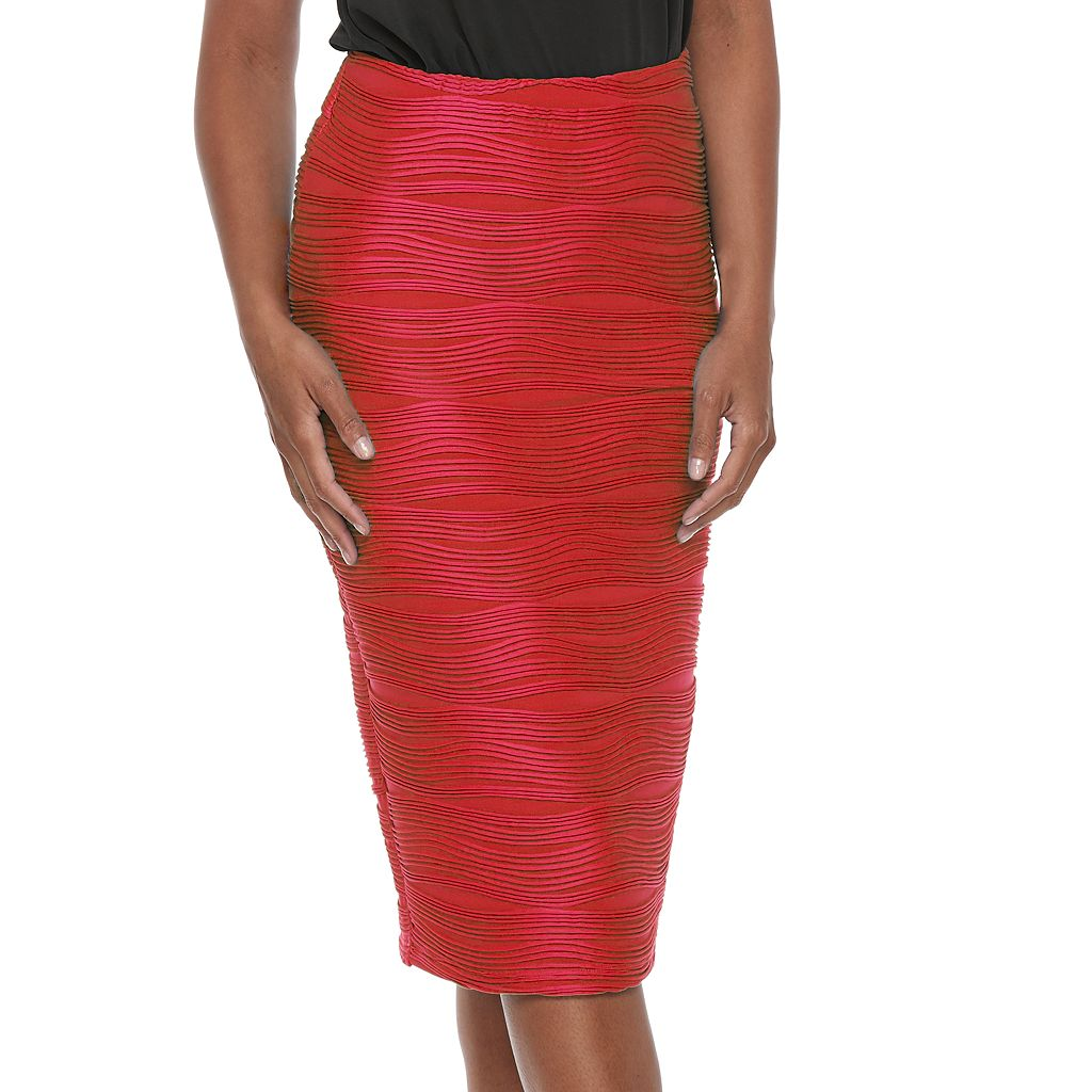 Women's Double Click Wavy Pencil Skirt