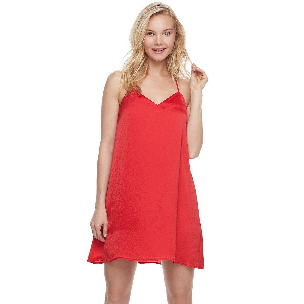 Juniors' Lily Rose Satin Slip Dress