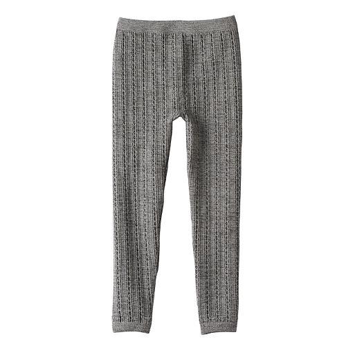 Girls 4-16 Skinny Cable Knit Fleece-Lined Seamless Leggings