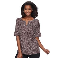 Women's Croft & Barrow® Print Pleated Crepe Top