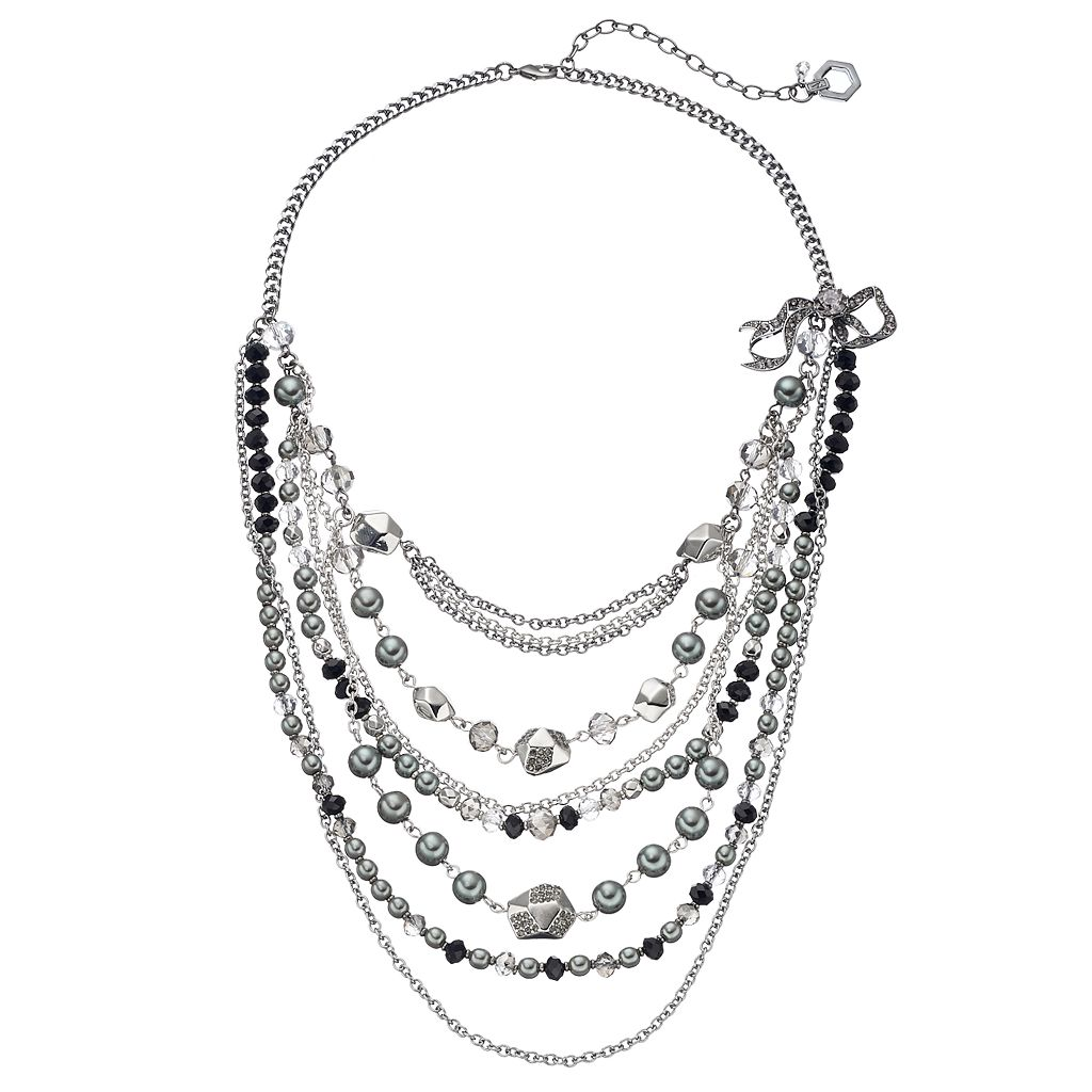Simply Vera Vera Wang Two Tone Beaded Swag Necklace