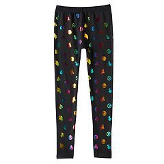 Girls 4-16 Rainbow Foil Icon Pattern Fleece-Lined Seamless Leggings