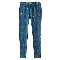 Girls 4-16 Rainbow Foil Splatter Print Faux-Denim Fleece-Lined Seamless Leggings