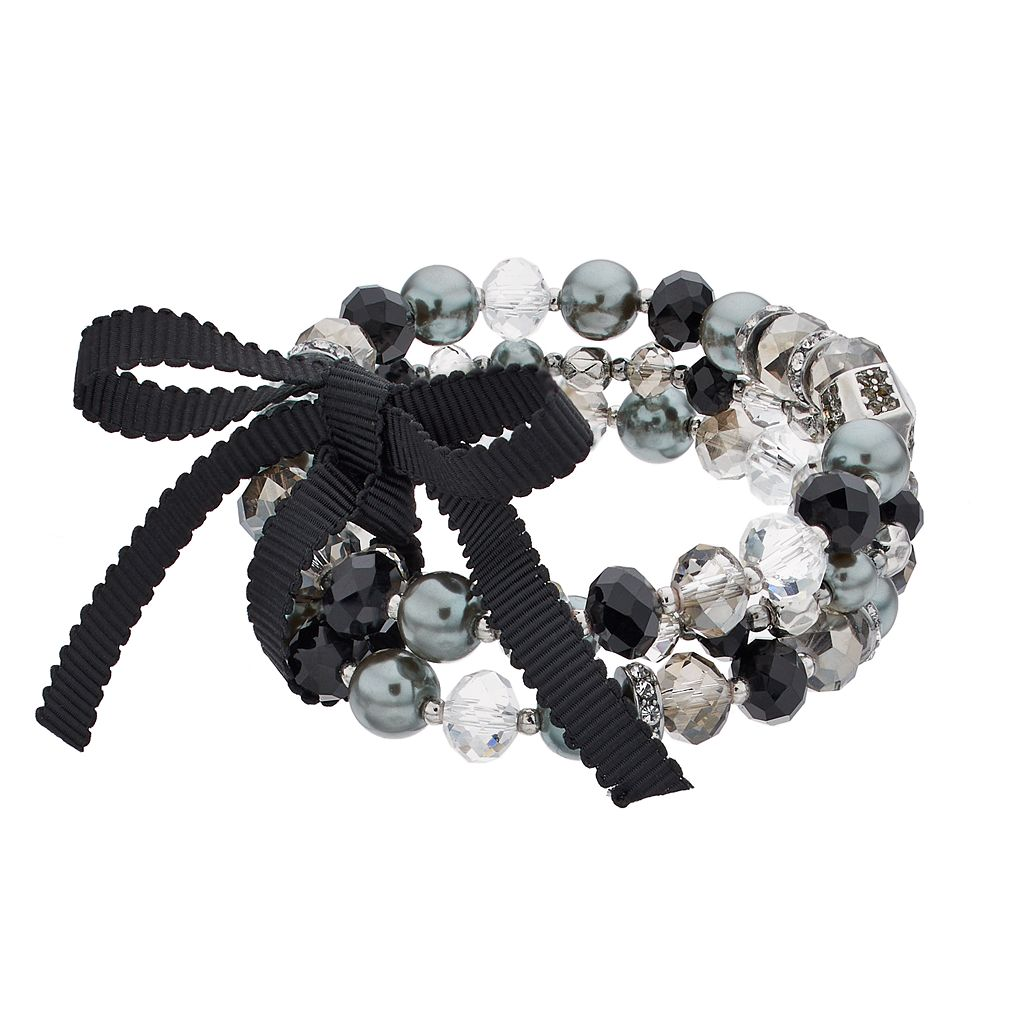 Simply Vera Vera Wang Beaded Ribbon Tie Multi Strand Stretch Bracelet