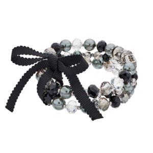 Simply Vera Vera Wang Beaded Ribbon Tie Multi Strand Stretch Bracelet